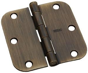 "Stanley Hardware RD758 3-1/2"" X 3-1/2"" Bulk Assembled 5/8"" Radius Residential Hinge Flush Pin in Antique Brass"