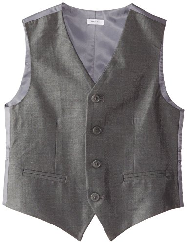 Calvin Klein Big Boys' Slub Twill Vest, Dark Grey, Large
