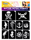 GLIMMER Pirates and Mermaid shimmer Glitter Tattoo Stencil Set Party Accessory