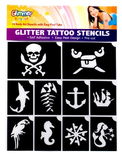 Glimmer Body Art Pirates And Mermaid Glitter Tattoo Stencil Set - 1