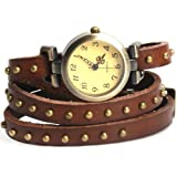 YesurpriseWeave Fashion Rivet Weave Wrap Around Leather Retro Bracelet Woman Wrist Watch Gift Brown