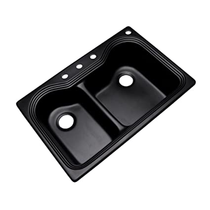 Dekor Sinks 56499Q Buckingham Composite Granite Double Bowl Kitchen Sink with Four Holes, 33-Inch, Black