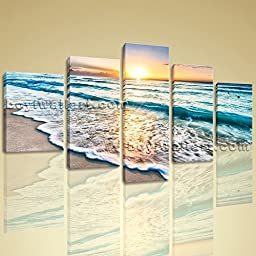 Huge High Quality Giclee Prints On Canvas Contemporary Landscape Beach Ocean 5 Pieces Wall Art Inner Framed Ready To Hang BoYi 54\