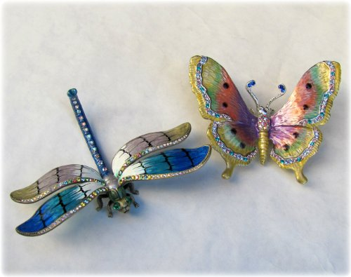 Large Butterfly and Dragonfly Set of Two Limited Edition Collectible Decoration figurine