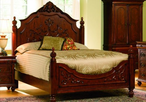 Queen Size Bed Oak Finish Wood Bedroom Room Frame New
