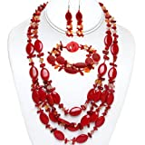 19″ Red Coral and Stone Chips Necklace Bracelet and Earrings Set thumbnail