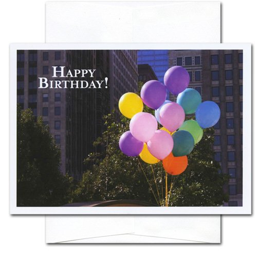 Birthday Cards - City Balloons, Box of 10 cards