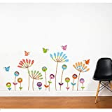 Colorful Plants With Flowers And Butterfies Skirting Wall Sticker
