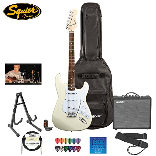 Squier Bullet By Fender (031-0001-580) Arctic White Strat With Picks, Tuner, Stand, Bag, Strap, Cable, Online Lesson, Strings & Amp