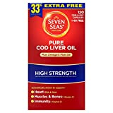 Seven Seas Pure Cod Liver Oil Plus Omega-3 Fish Oil High Strength 120 One-a-Day Capsules +40 Free