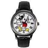 ディズニー 腕時計 メンズ レディース スワロフスキー 腕時計 ブラック 世界限定品 シリアルナンバー入り クロノグラフ モデル ユニセックス ミッキーマウス ウォッチ 本革 ヴィンテージ ミッキー 腕時計 ボーイス WATCH Disney 手が回る 時計 キャラクター ウオッチ (ブラック×SVフェイス) [並行輸入品]