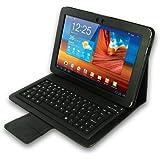 LEICKE Sharon - Pregiata custodia protettiva per Samsung Galaxy Tab e Galaxy Tab 2 10.1 3G - 10.1N - P7501 - P7511 - P7510 - P7500 in Eco Pelle Premium con Tastiera Bluetooth integrata con layout QWERTY UK