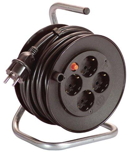 as-Schwabe-10180-Mini-Sicherheits-Kabeltrommel-schwarz-180mm-15m-H05VV-F-3G15-schwarz-IP20-Innenbereich