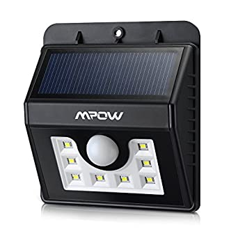 Mpow Super Bright 8 LED Solar Powered Wireless Security Light Weatherproof Outdoor Motion Sensor Lighting with 3 Intelligent Modes for Garden, Fence, Patio, Deck, Yard, Home, Driveway, Stairs