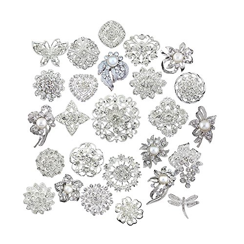 Lot 25pcs bridal and wedding brooch button bouquet kit set (Crystal Brooch compare prices)