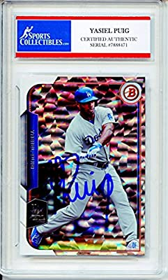 Yasiel Puig Autographed Los Angeles Dodgers Encapsulated Trading Card - Certified Authentic