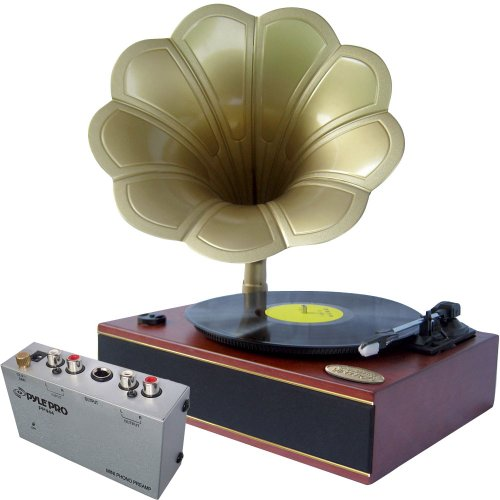 Pyle Turntable Record Player And Pre-Amplifier Package - Pngtt1R Classic Horn Phonograph/Turntable With Usb-To-Pc Connection And Aux-In - Pp444 Ultra Compact Phono Turntable Pre-Amplifier