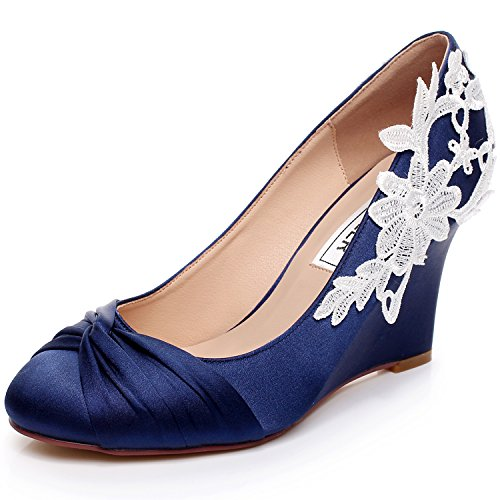 Dream pairs ideal women 39 s evening dress low heel ankle for Blue shoes for wedding dress