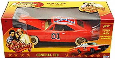 1969 The Dukes of Hazzard Dodge Charger w/ Flag #01, Orange - Tomy Johnny Lighting Chase ERTL CC7967DO - 1/25 scale Diecast Model Toy Car