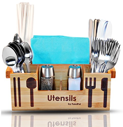 Bamboo Wooden Utensil Caddy Flatware Holder for Spoons, Knives, Forks, Chopsticks, Salt & Pepper Shakers, Napkins, Condiments, Spices, 7 Compartment, Silverware Organizer Home, Restaurant, Camper (Countertop Silverware Caddy compare prices)
