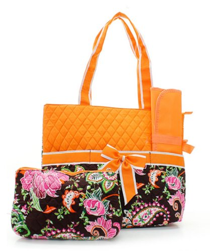 Quilted Brown And Orange Color Flower Garden/Outdoor Theme Print Monogrammable 3 Piece Diaper Bag With Changing Pad Tote Bag