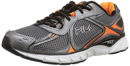 Fila Men's Quadrix Running Shoe, Castlerock/Dark Silver/Vibrant Orange, 10.5 M US