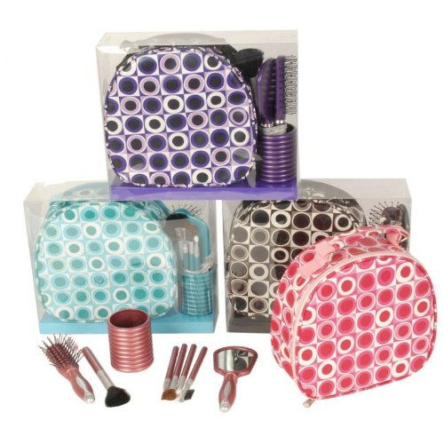 Hellblau Beautycase,Kulturbeutel,Kosmetiktasche mit MAKE UP Pinsel Set