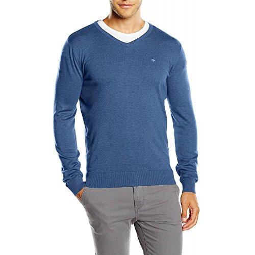 TOM TAILOR basic v-neck sweater, Felpa Uomo, Blu (indigo blue melange), Small