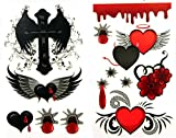 Waterproof And Non Toxic Hot Selling 1 Package With 2pcs Waterproof Red Heart Flower Angel Wing And Cross Temporary Tattoos