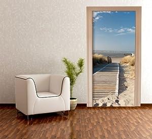 Door Wallpaper North Sea Beach TT303 90x200cm Dunes Sky Sand by wandmotiv24