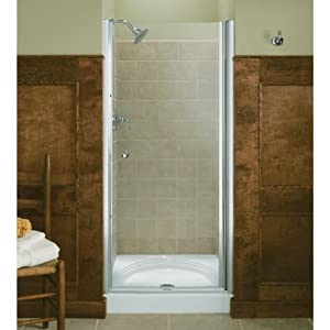 kohler k 702408 l sh fluence frameless pivot shower door bright silver g sa3. Black Bedroom Furniture Sets. Home Design Ideas