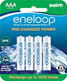 Sanyo eneloop SEC-HR4U4BPN 750mAh Minimum, 1500 cycle, 4 Pack AAA, Ni-MH Pre-Charged Rechargeable Batteries