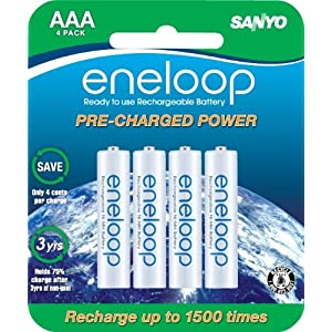 SANYO NEW 1500 eneloop 4 Pack AAA Ni-MH Pre-Charged Rechargeable Batteries