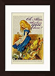 Alice in Wonderland Upsets The Jury Box Ready To Frame Mounted /Matted Dictionary Art Print