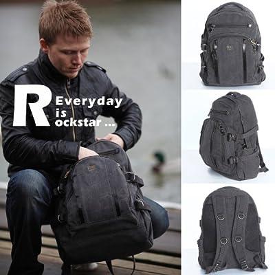 Large Black Unisex Troop London Laptop Backpack Bag leather trim 257BL