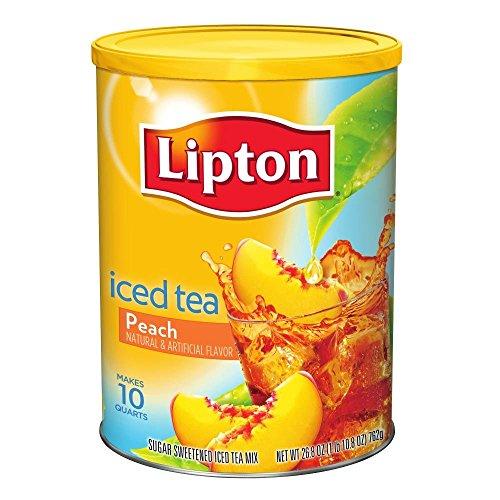 Lipton Iced Tea Mix, Peach Sweetened 10 Qt (Pack Of 6)