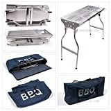 """Party Griller 32"""" Stainless Steel Charcoal Grill - Portable BBQ Grill, Yakitori Grill, Kebab Grill, Satay Grill. Makes Juicy Shish Kebab, Shashlik, Spiedini on the Skewer"""