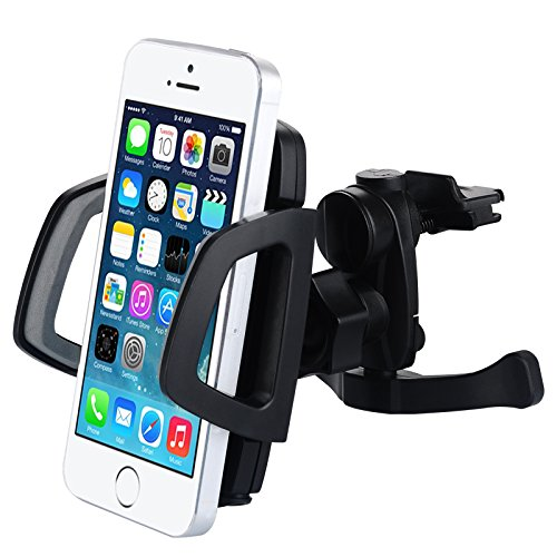 Pioneer Tech® Mount Windowshield Dashboard Car / Universal Air Vent Car Mount Holder Cell Phone Stand Mount Bracket For Iphone5,4S,3Gs,Ipod, Gps,Pda, Samsung Galaxy,Htc,Nokia,Lg, Blackberry Holder Ect. (Air Vent Car Mount Holder-Black)