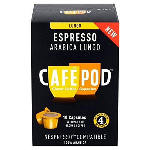 Get CafePod Arabica Lungo Nespresso Compatible Coffee Capsules 10 per pack - Pack of 2 from CafePod