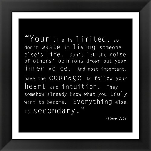 Time Quote Framed Art Print Wall Picture, Black Frame with Hanging Cleat, 16 x 16 inches (Steve Jobs Picture compare prices)