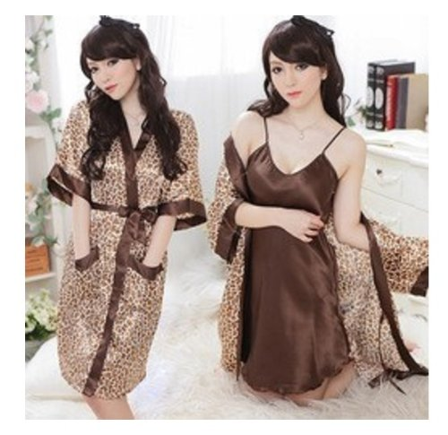 Exotic Leopard Sexy Lingerie Robe Dressing Gown Kimono Exotic Pajamas Sleepwear Set