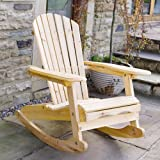 "Garden / Patio Adirondack ""Bowland"" Rocking Chair Natural Wood Finish"