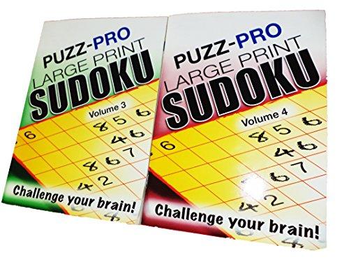 Puzz Pro Large Print Sudoku 2 Book Bundle Vol. 3 and 4. Challenge Your Brain Games. Very Easy to Hard. Fun….Fun….Fun…..