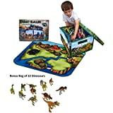 Neat-Oh! ZipBin Dinosaur Collector Toy Box & Playset With 2 Dinosaurs And Bonus Bag Of 12 Dinosaurs