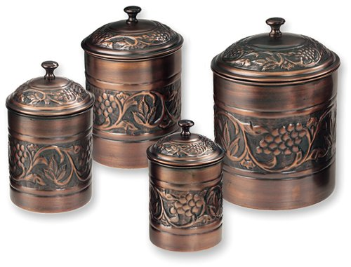 Old Dutch Antique Embossed Heritage Canister Set 4 Piece Set