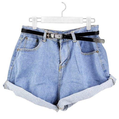 Gleader Donne ragazza di modo Jeans a vita alta Oversize Jeans orlo con risvolto pantaloncini-S (blu chiaro)