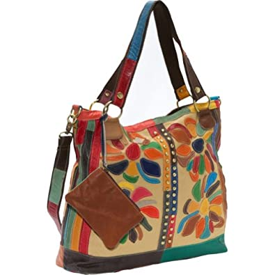 AmeriLeather Rosalie Canvas/Leather Tote (Rainbow)
