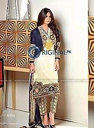 Pakistani cotton suit with chiffon Dupatta
