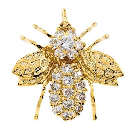 Gold Vermeil Cubic Zirconia Bee Pin Brooch Pendant