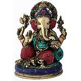 "Redbag Seated Lord Ganesha Fine 13.50"" Brass Statue 4809 ( 34.29 Cm, 25.4 Cm, 17.15 Cm)"
